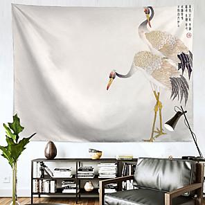 저렴한 -중국어 잉크 그림 스타일 벽 태피스트리 아트 장식 담요 커튼 매달려 홈 침실 거실 장식 폴리 에스테르 크레인