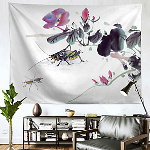 저렴한 -중국 잉크 그림 스타일 벽 태피스트리 아트 장식 담요 커튼 교수형 홈 침실 거실 장식 폴리에스터