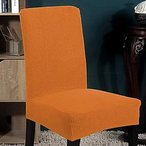 preiswerte -Stretch-Küchenstuhlbezug Schonbezug für Dinnerparty einfarbig solide weich abnehmbar waschbar