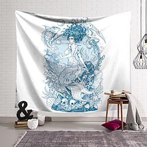 זול -שטיח קיר בת ים אמנות תפאורה שמיכת וילון תלוי וילון סלון חדר שינה ביתי פוליאסטר