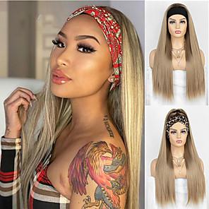 economico -parrucche sintetiche con fascia dorata diritta setosa per le donne parrucca sintetica marrone naturale / dorata parrucca piena fatta a macchina