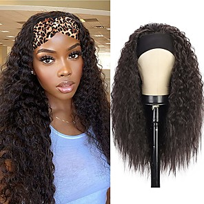 economico -parrucche ricci isaic fascia per le donne nere parrucca fascia crespa sintetica riccia ondulata parrucca mista marrone glueless fibra resistente al calore dall'aspetto naturale nessuna parrucca di