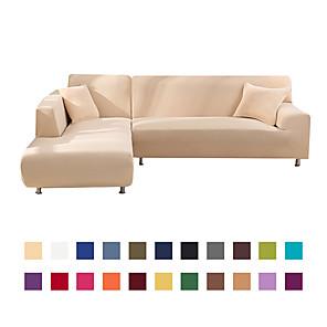 voordelige -stretch sofa hoes hoes elastische sectionele bank fauteuil loveseat 4 of 3 zits l-vorm, wit grijs zwart, effen, stevig, zacht duurzaam wasbaar