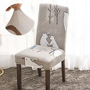 저렴한 -북유럽 곰 기하학 인쇄 1pcs 의자 커버 식당 만다라 인쇄 의자 커버 거실 파티 웨딩 크리스마스 장식 하이 백