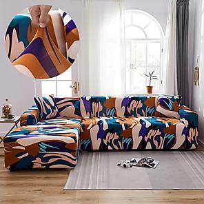 preiswerte -Stretch Sofabezug Schonbezug elastischer Schnittsofa Sessel Loveseat 4- oder 3-Sitzer L-Form Blumenblume abstrakt weich strapazierfähig waschbar