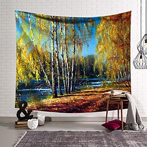 זול -ציור שמן סגנון קיר שטיח קיר תפאורה שמיכת וילון תלוי חדר שינה בית סלון קישוט נוף יער פוליאסטר