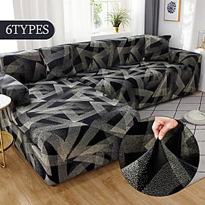 זול -כורסת ספה למתוח החלקה על כיסא ספת חתך אלסטי כורסת 4 או 3 מושבים בצורת l שחור גיאומטרי רך עמיד לכביסה