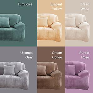 ราคาถูก -โซฟายืด cover slipcover elastic sectional couch armchair loveseat 4 or 3 seater l shape velvet plush plain solid soft Durable washable
