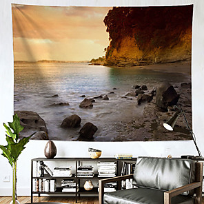 저렴한 -풍경 벽 태피스트리 아트 장식 담요 커튼 매달려 홈 침실 거실 장식 해변 일몰