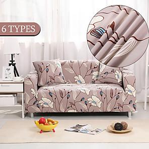 preiswerte -Stretch-Sofabezug Schonbezug elastischer Schnittsofa Sessel Loveseat 4- oder 3-Sitzer L-Form Blumen/Blumen botanisch/Pflanzen weich strapazierfähig waschbar