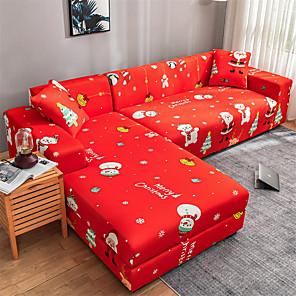 preiswerte -Weihnachten Weihnachtsmann Sofabezug Schonbezug elastischer Schnittsofa Sessel Loveseat 4 oder 3 Sitzer L-Form roter Schneemann Druckmuster weich strapazierfähig waschbar