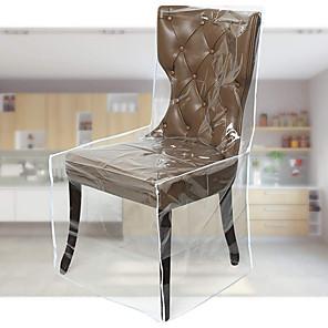 preiswerte -Esszimmerstuhlbezüge aus Kunststoff mit Rückenlehnen, PVC-klarer Stuhlsitzbezug, wasserdichter Küchenschutzstuhlbezug für Party, kein Staub / Schmutz / Verschütten