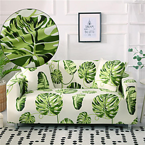preiswerte -Stretch-Sofabezug Schonbezug elastischer Schnittsofa Sessel Loveseat 4- oder 3-Sitzer L-Form grün floral/Blume botanisch/Pflanzen weich strapazierfähig waschbar