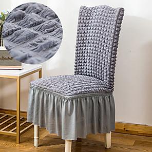 preiswerte -Stretch-Küchenstuhlbezug Schonbezug Luftpolstergitter für Dinnerparty Hellgrau mit Rock weicher bequemer fester eleganter Stuhlbezug