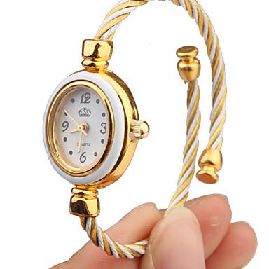 رخيصةأون ساعات النساء-نسائي ساعات فاشن ساعه اسورة ساعة ذهبية كوارتز الأبيض مماثل سوار أنيق - ذهبي أبيض سنة واحدة عمر البطارية / Tianqiu 377