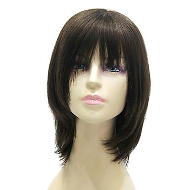 Peruca fara cap fara par Drept Drept Tunsoare bob Frizură în Straturi Coafuri scurte 2019 Perucă Mediu Negru Păr Natural 15 inch Pentru femei
