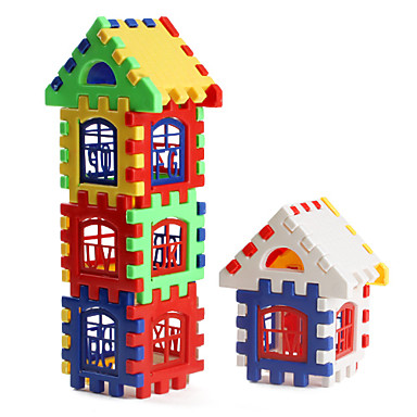 olcso puzzle játékok-színes ház építőelemek (24db)