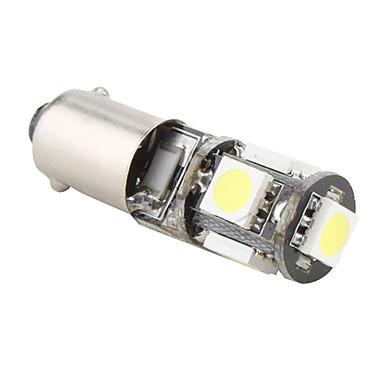 BA9s 1W 5x5050 lumină albă LED-uri SMD bec pentru lampa de frână masina (12V)