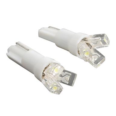 T5 3-LED 20mA 0.24W 12V alb lumina auto bec-pereche