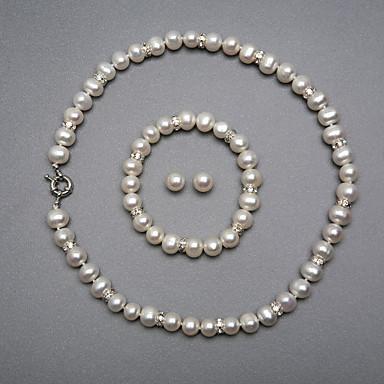 Alb Perle Seturi de bijuterii femei Argintiu cercei Bijuterii Pentru Nuntă Petrecere Aniversare Zi de Naștere Logodnă Cadou / Cercei / Coliere