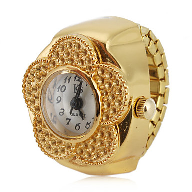 نسائي ساعة حلقة ساعة ذهبية ياباني كوارتز ذهبي ساعة كاجوال مماثل سيدات زهر موضة
