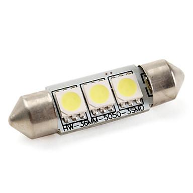 36mm 1w 3x5050 smd lumină albă de lumină albă de 60lm condus cu bec pentru lămpi de mașină (dc 12v)