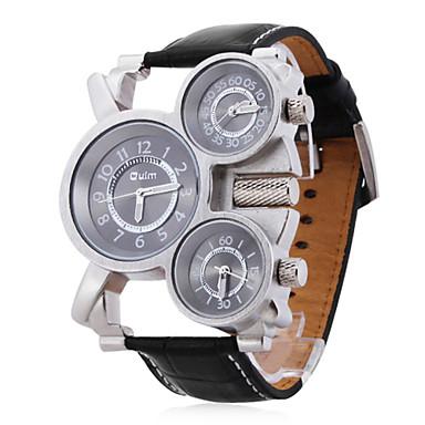 Недорогие Часы на кожаном ремешке-Oulm Муж. Армейские часы Наручные часы Кварцевый Японский кварц Steampunk С тремя часовыми поясами Кожа Черный Аналоговый - Черно-белый Два года Срок службы батареи / SOXEY SR626SW