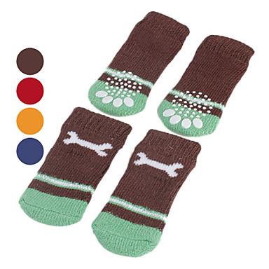 povoljno Odjeća za psa i dodaci-Pas Čarape Ležerno / za svaki dan Ugrijati Kost Za kućne ljubimce Pamuk Random boja / Zima