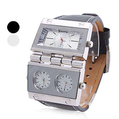 povoljno Muški satovi-muške pu analogni kvarcni ručni sat (3 vremenske zone, assorted boje)
