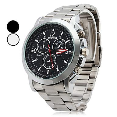 Bărbați Ceas Elegant Ceas de Mână Oțel Inoxidabil Quartz Oţel Argint Ceas Casual Analog Clasic De Bază Elegant - Negru Alb