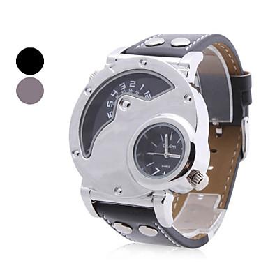 Недорогие Часы на металлическом ремешке-Муж. Армейские часы Steampunk С двумя часовыми поясами Аналоговый Черный Коричневый