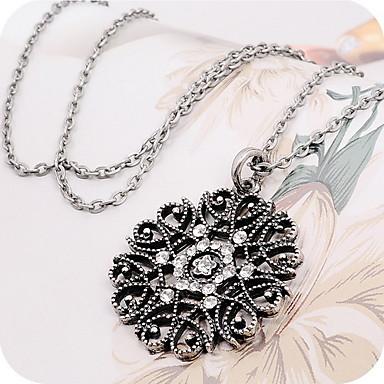 Pentru femei Diamant sintetic Coliere cu Pandativ Pandative Colier lung, Florale / Botanice Ieftin femei Casual Modă Aliaj Negru Argintiu Coliere Bijuterii Pentru Zilnic