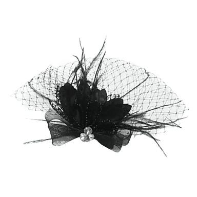 Tul / Cristal / Pană Diademe / Birdcage Veils cu 1 Nuntă / Ocazie specială / Party / Seara Diadema / Material Textil