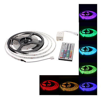 5m Fâșii De Becuri LEd Flexibile 300 LED-uri 3528 SMD 1 44 Controlul telecomenzii RGB Decorativ / De Legat / Auto- Adeziv 12 V 1set