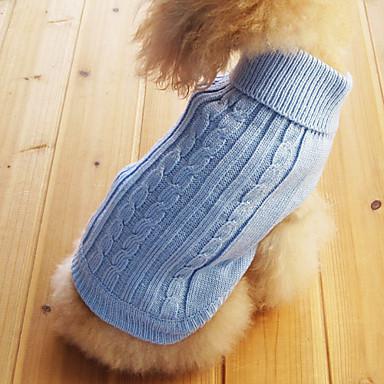 رخيصةأون ملابس وإكسسوارات الكلاب-قط كلب البلوزات الشتاء ملابس الكلاب أزرق فاتح كوستيوم قطن لون سادة XS S M L XL