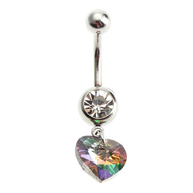 Little Chair Crystal Gold Love Heart Belly Button Navel Ring Body Piercing Jewelry