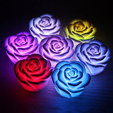 1pc floare de trandafir a condus noaptea ușoară schimbând 7 culori lampa cu lumânări romantice