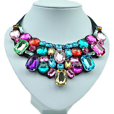 Pentru femei Diamant sintetic Coliere Coliere cu Pieptar Emerald Cut Curcubeu femei Modă Plin de Culoare Culoare Reșină Ștras Diamante Artificiale Coliere Bijuterii Pentru Nuntă Petrecere Zilnic