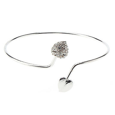 Pentru femei Brățări Bangle Inimă Iubire Lux stil minimalist Deschis Diamante Artificiale Bijuterii brățară Pentru Nuntă