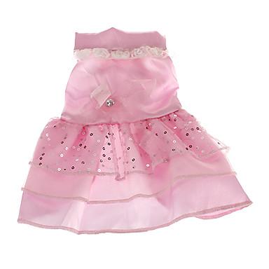 povoljno Odjeća za psa i dodaci-Pas Haljine Odjeća za psa Obala Pink Kostim Terilen Šljokice Vjenčanje XS S M L