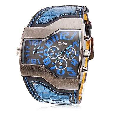 ieftine Ceasuri Bărbați-Oulm Bărbați Ceas Militar Ceas de Mână Quartz Piele PU Matlasată Negru / Alb / Albastru Zone Duale de Timp Analog Charm - Negru Rosu Albastru Doi ani Durată de Viaţă Baterie / SOXEY SR626SW