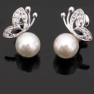 Pentru femei Cercei Stud Fluture femei De Bază Modă Cute Stil Perle cercei Bijuterii Alb-Argintiu Pentru Petrecere Zilnic Casual