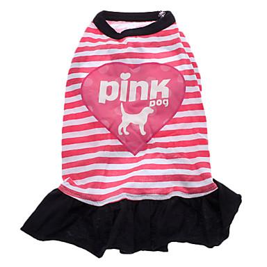 povoljno Odjeća za psa i dodaci-Pas Haljine Odjeća za psa Prozračnost Pink Kostim Pamuk Srce Pismo i broj S M L