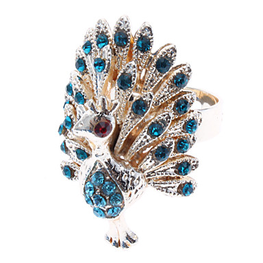رخيصةأون خواتم-نسائي خاتم البيان الماس الاصطناعي أزرق ذهبي تقليد الماس سبيكة سيدات غير عادي ترف مناسب للبس اليومي مجوهرات الطاووس