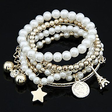 cheap Pearl Bracelets-Women's Charm Bracelet Wrap Bracelet Ball Tower Star Ball Ladies Unique Design Fashion Pearl Bracelet Jewelry White / Silver For Christmas Gifts Wedding Party Daily Masquerade Engagement Party