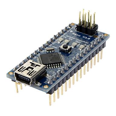 olcso Alaplapok-Nano V3.0 AVR ATmega328 P-20AU modul alaplap; USB kábel arduino kék + fekete