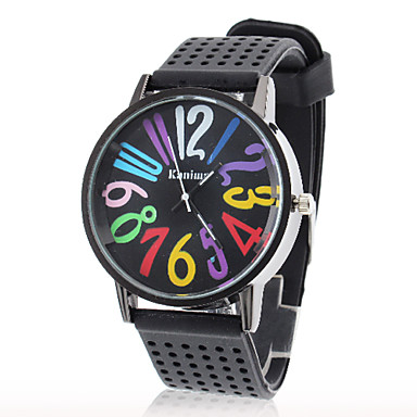 Dámské barevné Čísla silikonové kapela Náramkové analogové hodinky Casual  (Black) 641816 2019 – €8.99 02bf5687e8