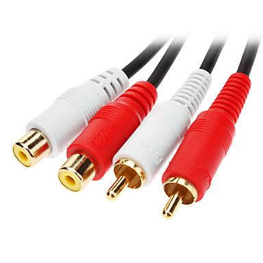 olcso JSJ®-jsj® 1.8m 5.904ft 2xRCA férfi-női 2xRCA audio video kábel fekete dvd