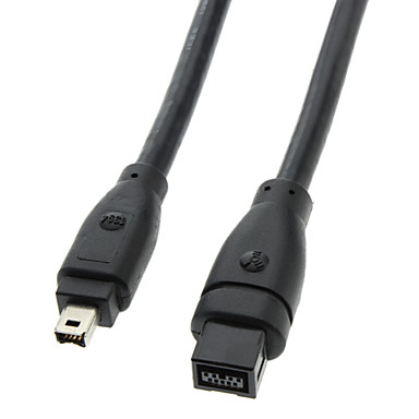 9 PIN/ 4PIN Bilingual FireWire 800 - FireWire 400 Cable Black(1.8M ...