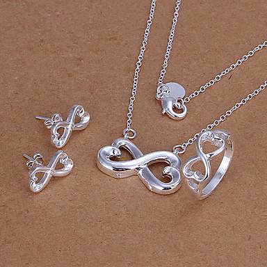 Недорогие Женские украшения-бесконечные символы Серебряный набор ювелирных изделий